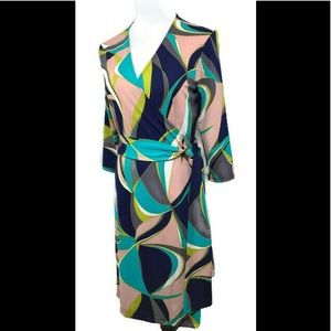 Tracy Negoshian Abstract Print Wrap Dress